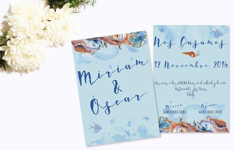 Invitaciones de boda Corales
