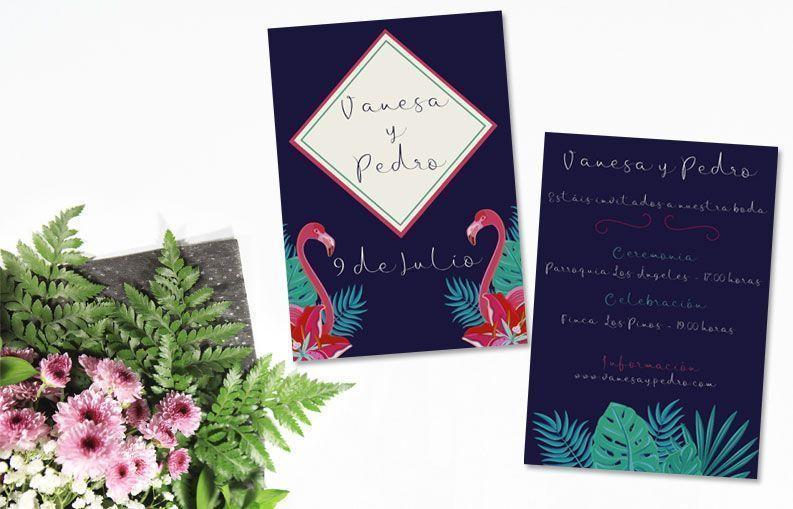 Invitaciones de boda flamencos